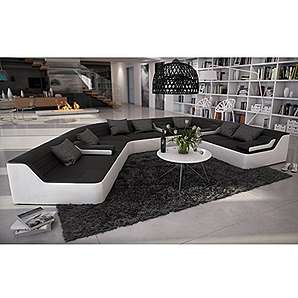 Rund-Sofa mit Bezug aus schwarz / weißem Kunstleder 410x272 cm halbrund | Catoca | Designer Wohnlandschaft im XXL Format Recamiere links | Couch-Garnitur für Wohnzimmer schwarz / weiss 410cm x 272cm