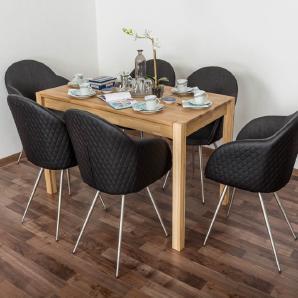 Wooden Nature Esstisch-Set 285 inkl. 6 Stühle (schwarz), Eiche Massivholz - 135 x 75 (L x B)