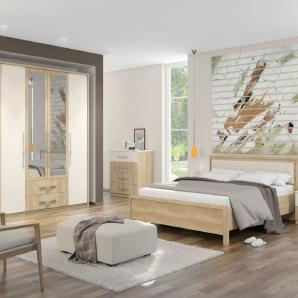 Schlafzimmer Komplett - Set A Lepa, 5-teilig, Farbe: Eiche Braun / Creme
