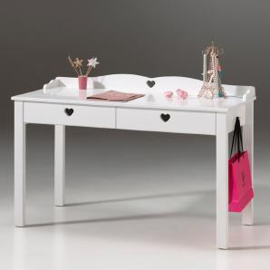 Schreibtisch ANNECY-12, MDF weiß lackiert, B x H x T ca. 130 x 84,5 x 60 cm