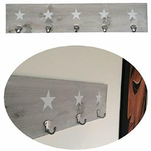LS Design Holz Wandgarderobe Garderobe 5 Haken Stern Shabby Grau Weiss