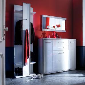 Garderobenset Arco II (3-teilig) - Hochglanz Weiß, loftscape