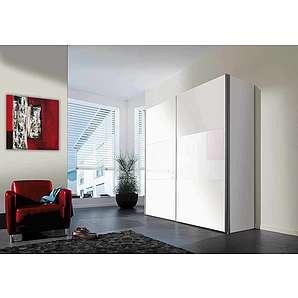 2-trg. Schwebetürenschrank in Polarweiß mit weißen Glas-Applikationen mit 2 Kleiderstangen und 2 Einlegeböden, Maße: B/H/T ca. 200/216/68 cm