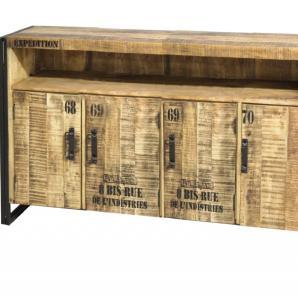 Eleonora, Sideboard Iron, Metallfüße, Aufdrucken, im Used-Look, 4-türig,