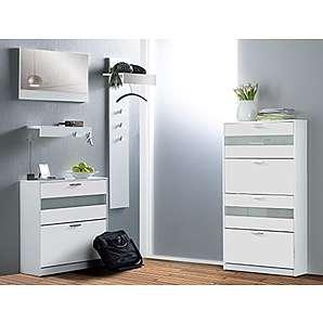 Expendio 44849071 Garderoben Set 5-teilig, MDF / Spannplatte, weiß, 25 x 225 x 147 cm