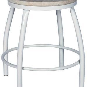 Sitzhocker aus Metall Holz massiv (2er Set)