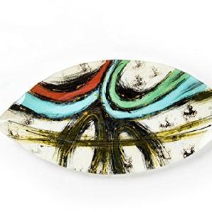 Hausmann & Söhne Deko Schale Glas  Glasteller   Deko Glasschale   Design Schale  Tischdeko   rot blau schwarz weiß gold  Geschenkidee