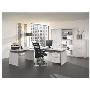 Möbel-Set »Adria« 7-teilig, Bürotisch mit Wangenfuß Grau, Wellemöbel