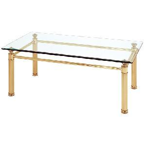 Couchtisch Aube - Stahl/Glas - Vergoldet mit Wellenprofil/Facettenschliff, Home Design