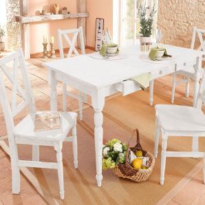Home affaire Kiefer Essgruppe, weiß, Massivholz, 160/80cm + 4 Stühle »Noah«, FSC®-zertifiziert