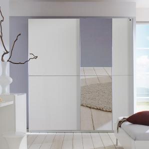 Schwebetürenschrank alpinweiß, Spiegel-Absetzungen, Aufleistungen in Chrom, 2 Schwebetüren, 3 Einlegeböden, 3 Kleiderstangen, Maße ca. 250/218/65 cm