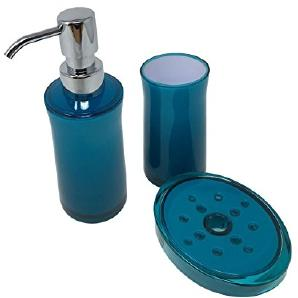4x uni transparent blaugrün blau weiß Badezimmer Seifenschale Spender & Zahnputzbecher