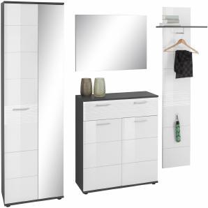 trendteam Garderoben-Set  grau, »Smart«, pflegeleichte Oberfläche, Hochglanz-Fronten, FSC®-zertifiziert, grau