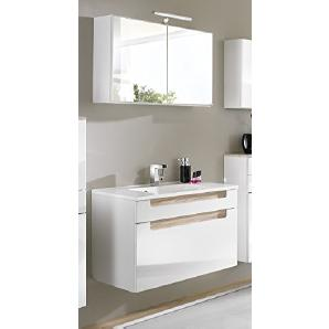 Held Möbel 531.3022 Siena Waschtisch 80-Set Spiegelschrank, LED-Aufbauleuchte, Hochglanz-weiß Eiche-Sonoma