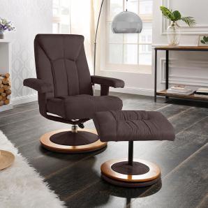Home affaire Relaxsessel & Schemel in 3 Bezugsqualitäten »Colmar«, braun, B/H/T: 77x48x55cm, FSC®-zertifiziert