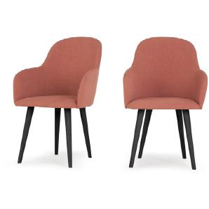 2 x Stig Armlehnenstühle mit hohem Rücken, Altrosa und Schwarz