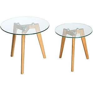 Echt Eiche Er Set Couchtisch Oak Edelstahl Glas Holztische Satztische  Glasplatte.