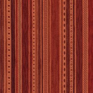 Landhaus Möbelstoff Kitzbühel Farbe 21 (rot, braun, terra) - modernes Chenille-Flachgewebe (gemustert, gestreift) Polsterstoff, Stoff, Bezugsstoff, Eckbank, Couch, Sessel, Hussen, Kissen