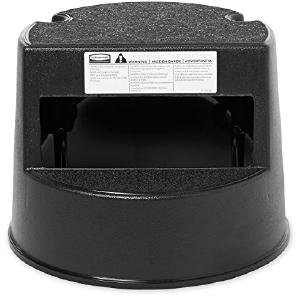 Rolling Step Stool, Curved Design, Retracting Casters, 16 dia. x 13 1/2h, Black, Sold as 1 Each