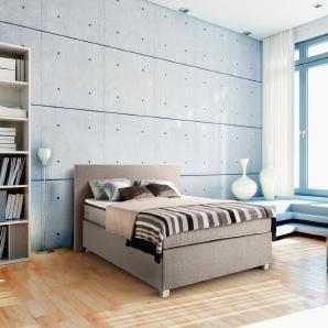 Boxspringbett in beigefarbenem Webstoff bezogen mit Bonnell-Federkernmatratze, Liegefläche: 140 x 200 cm