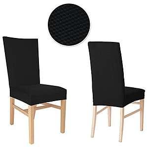 4er Auralum® 2 Jahre Garantie Elegant Samt Bi-Elastic Stuhlhusse Stuhlüberzug (Schwarz)