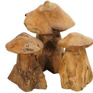 Ploß, Deko-Set Pilze 3-teilig, Teak natur, Unikat, wittterungsbeständig, verschiedenen Höhen,