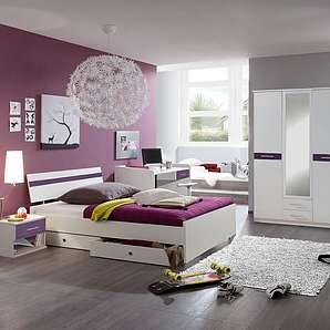 Jugendzimmer 4-tlg. Alpinweiß matt/Brombeer, 3-trg. Schrank B: 135 cm, Bett 90 x 200 cm, Nachtschrank B. 46 cm, Schreibtisch B: 125 cm
