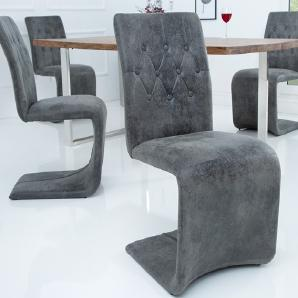 Freischwinger minimalistisch und zeitlos moebel24 for Eleganter design stuhl livorno strukturstoff grau
