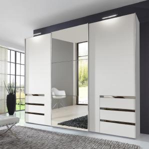 Schwebetürenschrank in alpinweiß mit 8 Einlegeböden, 3 Kleiderstangen und 6 Schubkästen, Spiegeltür, Maße: B/H/T ca. 300/236/65 cm