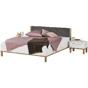 Bettanlage mit 2 Nachtkommoden 180x200 weiß - Eiche Corby ¦ weiß ¦ Maße (cm): B: 186 H: 90 T: 210 Betten  Futonbetten » Höffner