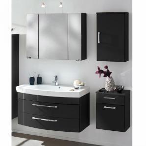 Badmöbel Set RIMAO-100 Hochglanz anthrazit, 100cm Waschtisch, Halogen Spiegelschrank (4-teilig)