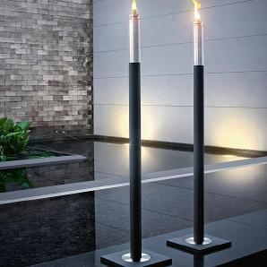 Fackel Barra Blomus Silber, Designer Flöz Industrie Design, 118 cm
