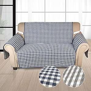 Auralum Hochweitig Sofabezug Doppelseitig 2 sitzer 167*112cm Couchhusse aus 100% Baumwolle (blau/schwarz)