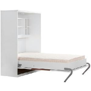 Schrankbett KiYDOO smart - 160 x 205 cm - Kaltschaummatratze - Weiß / Nussbaum Dekor, Fredriks