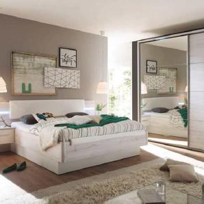 4-tlg. Schlafzimmer in Weißeiche-NB mit Abs. in weiß, Bettanlage inkl. LED und 2 Nachtkonsolen, Liegefläche 180x200 cm, Schwebetürenschrank B:270 cm