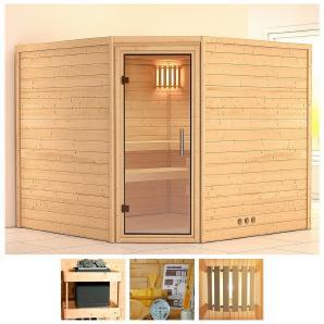 KONIFERA Sauna »Leona«, 231/231/200 cm, ohne Ofen, Glastür klar