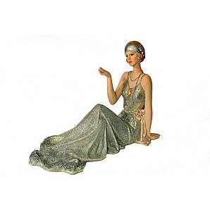 HOME AFFAIRE Dekofigur Dame in Pose Handbemalt silber