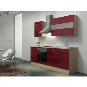Respekta Premium Küchenzeile RP210ABOC 210 cm Bordeaux-Akazie Nachbildung