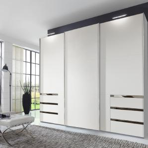 Schwebetürenschrank in alpinweiß mit 7 Einlegeböden, 3 Kleiderstangen und 6 Schubkästen, Spiegeltür, Maße: B/H/T ca. 300/216/65 cm
