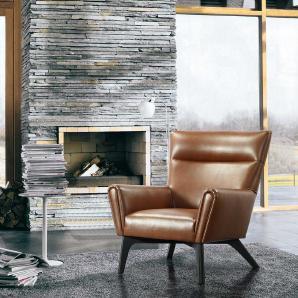 Wohnzimmer Sessel in Braun Vintage Design