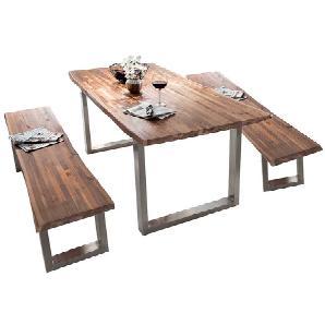 Sitzgruppe mit Baumkantentisch 2 Bänke (3-teilig)
