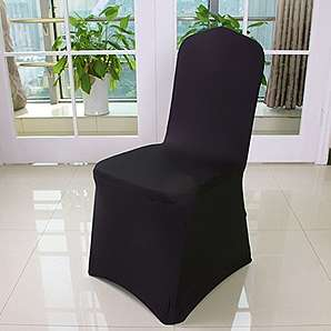 6er Auralum® 2 Jahre Garantie Elegant Elasthan Bügelfrei Stretchhusse Stuhlhusse Stuhlüberzug Husse (Schwarz)
