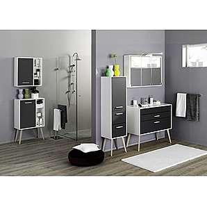 Badezimmer Badmöbel Set LECCE-03, 5-teilig, 100cm Waschtisch, anthrazit matt, weiß, weiß, Buche massiv,100cm Waschtisch, Badezimmermöbel, Badmöbel