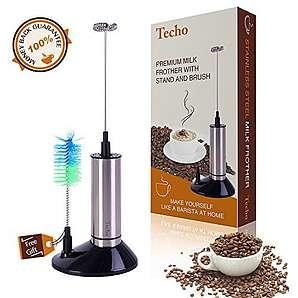 TECHO Elektrischer Milchaufschäumer Handlich, milk frother, Batteriebetrieben mit Edelstahl Rührbesen, Stand und Bürste