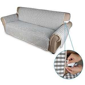 Auralum 167*165cm rutschfest Couchhusse Sofaüberwurf aus 100% Baumwolle Doppelseitig 3 sitzer (grau/ schwarz)