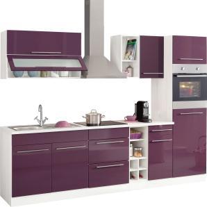 Küchenzeile »Avignon« lila, pflegeleichte Oberfläche, mit Schubkästen, Held Möbel