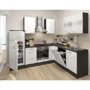 Respekta Premium Winkelküche RP260EWCOSGKE 260 cm Weiß-Eiche Grau Nachbildung