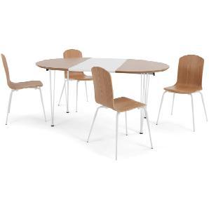 Ryland Essgruppe mit 4 Stühlen, Eiche und Weiß