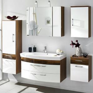Badmöbel Set RIMAO-100 Hochglanz weiß, Walnuss Nb., 100cm Waschtisch, Halogen Spiegelschrank (5-teilig)