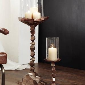 Kerzenständer klein Aluminium 14x14x52 kupfer DEKO #029